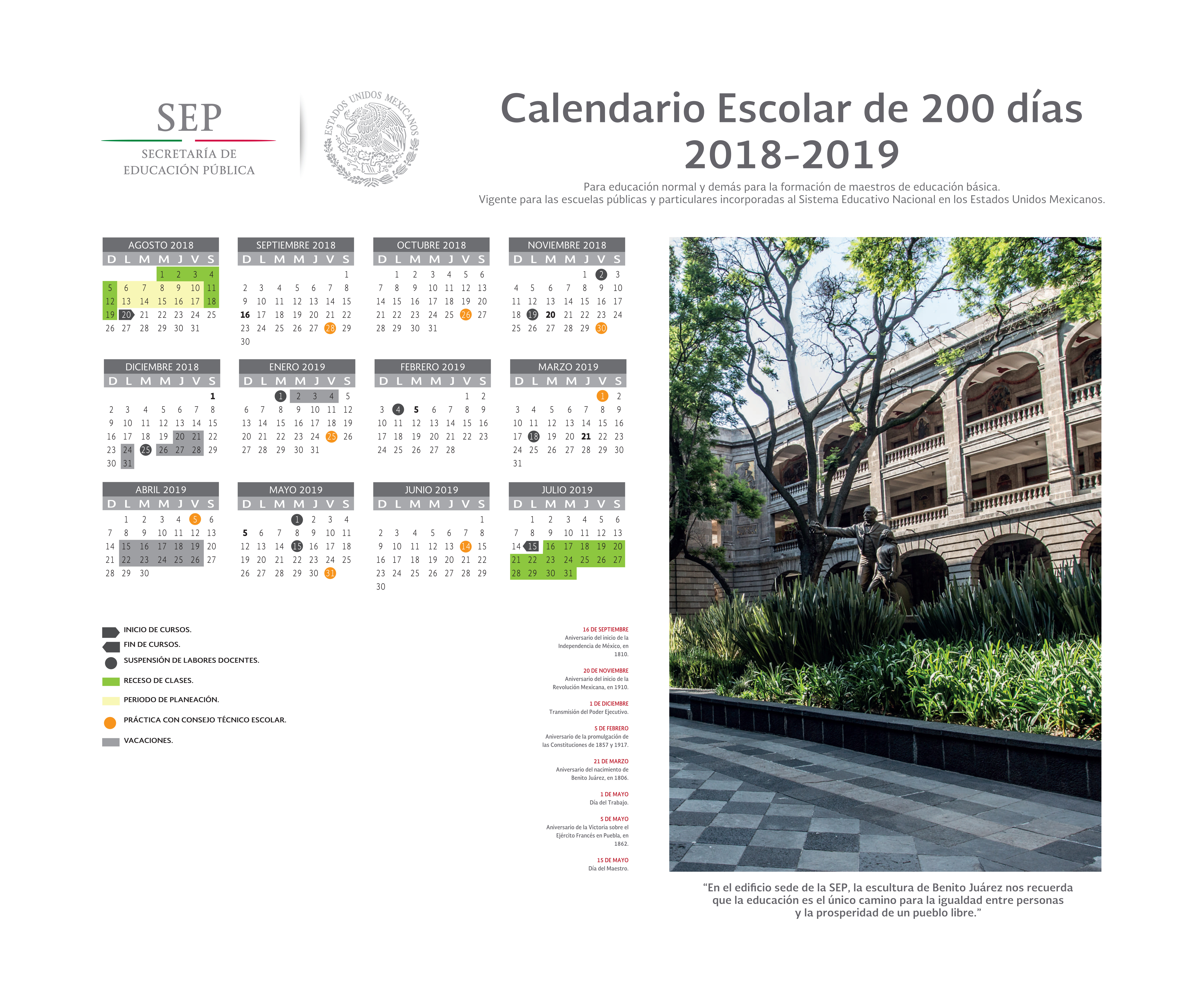 Calendario Para Kinder 2019.Calendario Escolar Instituto Estatal De Educacion Publica